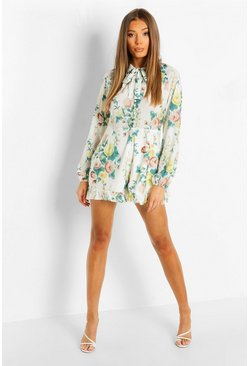 Multi Button Front High Neck Floral Playsuit