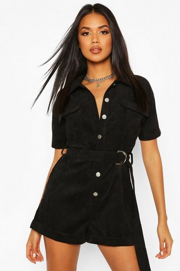 Black Cord Utility Playsuit