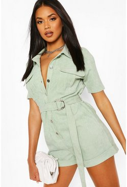Salie green Utility Playsuit set