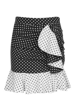 Black Mixed Polka Dot Ruffle Mix Skirt