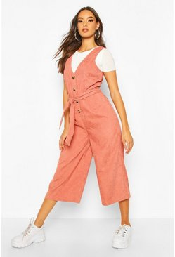 Terracotta orange Cord Button Front Culotte Pinafore Jumpsuit