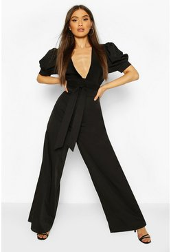 Black Puff Sleeve Self Belt Wide Leg Jumpsuit