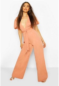 Terracotta orange Puff Sleeve Self Belt Wide Leg Jumpsuit