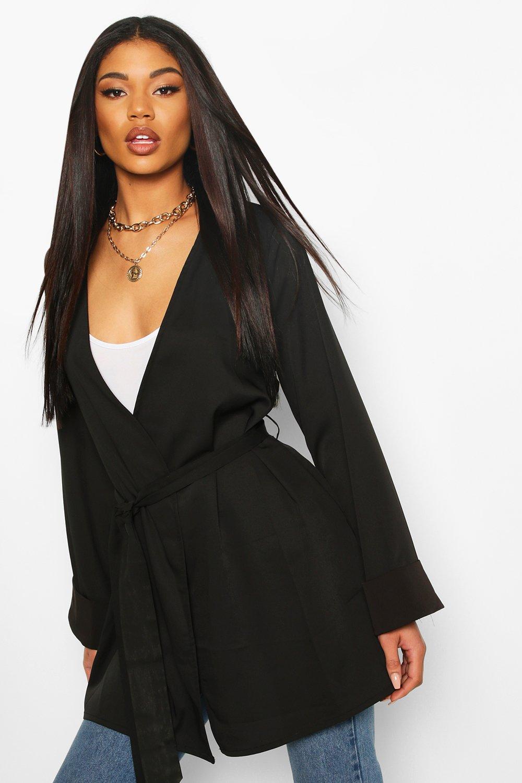 TOPS Black Woven Oversized Cuff Kimono