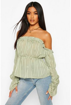 Sage green Satin Stripe Off The Shoulder Top