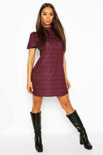 Berry red Printed Funnel Neck Puff Sleeve Shift Dress