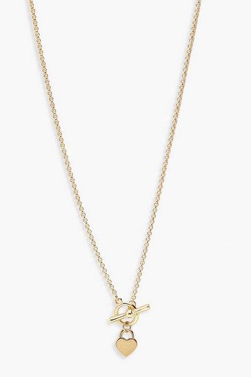 Gold metallic T-Bar & Heart Necklace