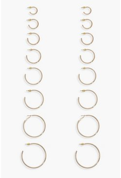 Gold metallic Mixed Size Hoop Earring 8 Pack