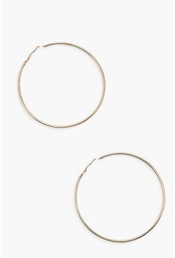Gold Plain 8cm Hoop Earrings