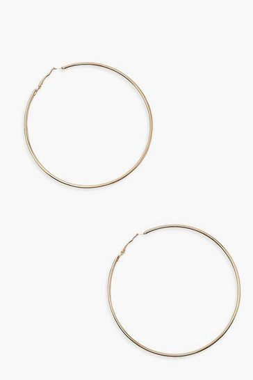Gold metallic Plain 8cm Hoop Earrings