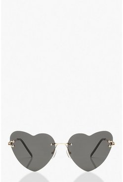 Black Frameless Heart Sunglasses