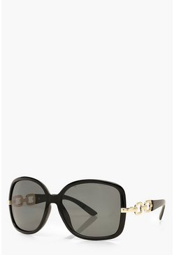 Black Oversized Chain Detail Sunglasses