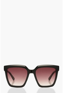 Black Chunky Square Oversized Sunglasses