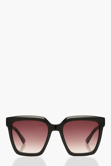 Black Chunky Square Oversized Sunglasses