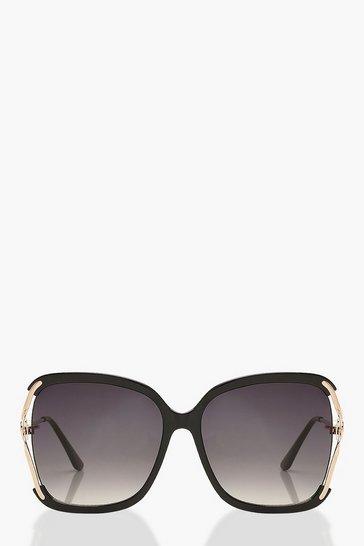 Black Oversized Pearl Detail Sunglasses