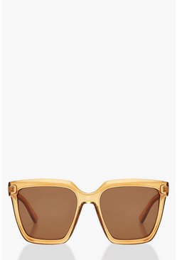 Amber orange Chunky Square Oversized Sunglasses