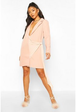 Blush pink Dobby Mesh Detail Blazer Dress
