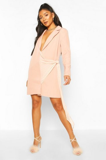 Blush Dobby Mesh Detail Blazer Dress