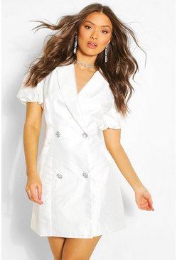 Ivory white Volume Sleeve Blazer Dress