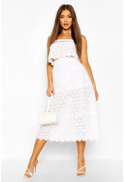 White Eyelet Lattice Detail Crop And Midi Skirt Two-Piece