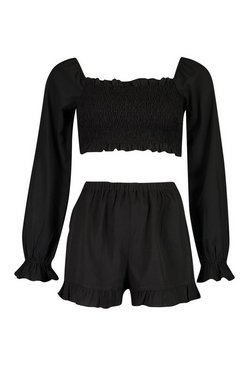 Black Woven Shirred Ruffle Top & Shorts Co-ord