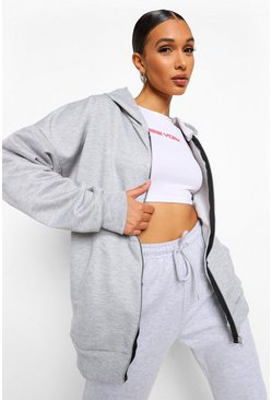 Grey marl grey Basic Oversized Zip Through Hoodie