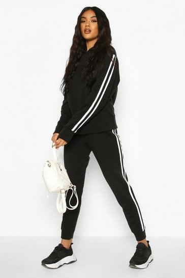 Black Hooded Fleece Side Stripe Tracksuit