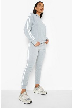 Grey marl grey Hooded Fleece Side Stripe Tracksuit