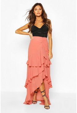 Spice orange Layered Ruffle Hem Maxi Skirt
