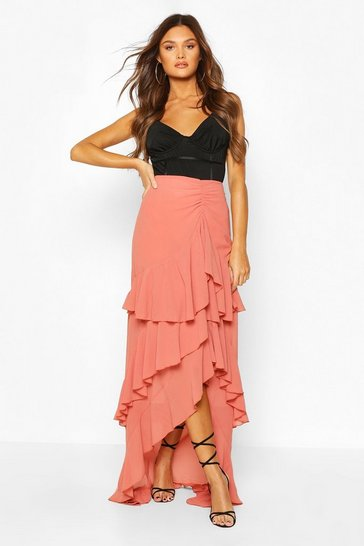 Layered Ruffle Hem Maxi Skirt