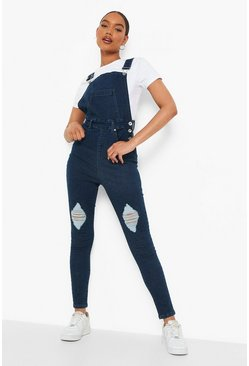 Dark blue Slim Fit Distressed Denim Dungaree