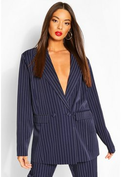 Navy Oversized Dad Fit Tailored Pinstripe Blazer