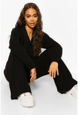 Black Knitted Button Through Wide Leg Cardigan Set
