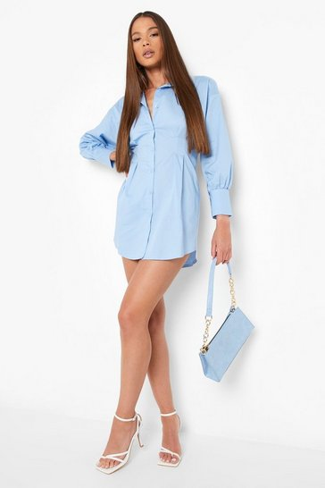 Blue Corset Cinched In Waist Shirt Dress