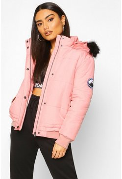 Dusky pink Faux Fur Trim Crop Puffer Jacket