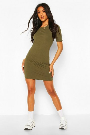 Khaki Basic Crew Bodycon Dress