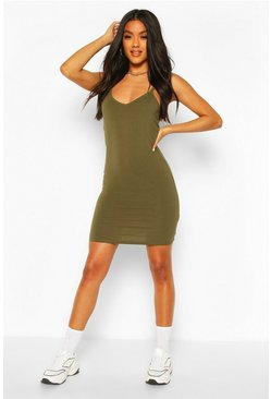 Khaki Basic Strappy Cami Bodycon Dress