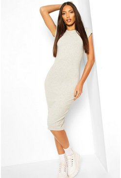 Grey marl grey Cap Sleeve Bodycon Midi Dress