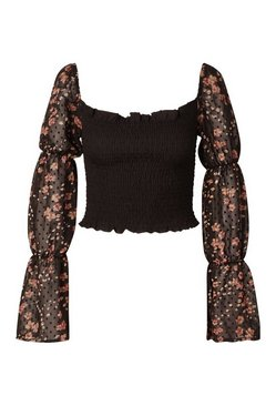 Black Shirred Floral Dobby Chiffon Square Neck Crop Top