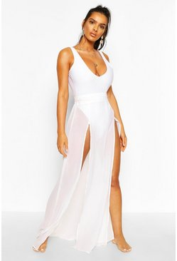 White Split Leg Maxi Beach Skirt