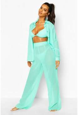 Turquoise blue Wide Leg Beach Pants