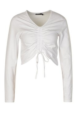 White Ruched Tie Up Front Long Sleeve Top