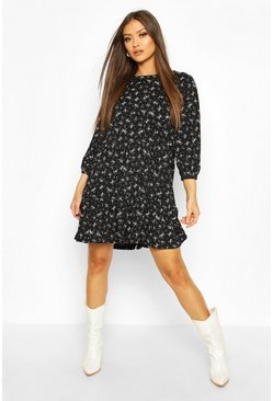 Black Tiered Smock Dress In Ditsy Floral