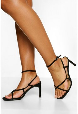 Black Wide Fit Asymmetric Heel Sandals