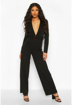 Black Plunge Belted Jumpsuit