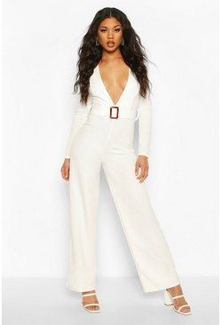 White Plunge Belted Jumpsuit