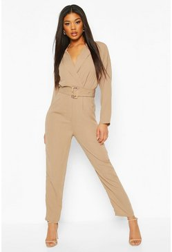 Sand beige Utility Tailored Jumpsuit