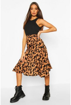Terracotta orange Ruched Front Animal Print Midi Skirt