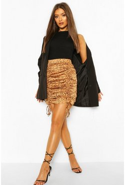 Caramel beige Dalmation Print Drawcord Ruched Mini Skirt