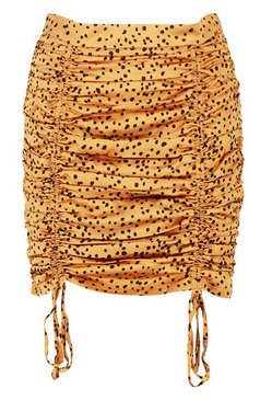 Caramel Dalmation Print Drawcord Ruched Mini Skirt